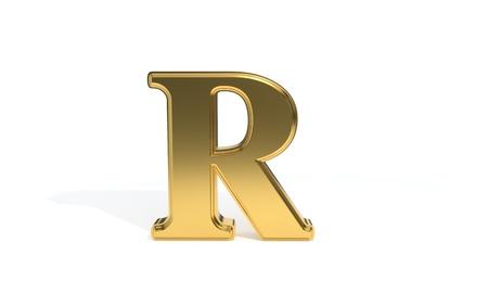 R gold colored alphabet, 3d render