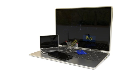 Internet technology concept shopping discounts, 3d render