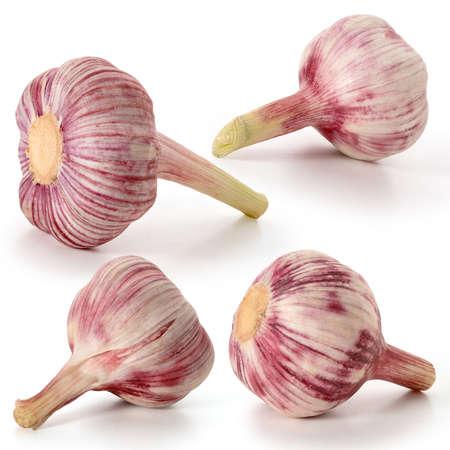 Foto für Four heads of fresh red garlic on a white background. Full depth of field. With clipping paths - Lizenzfreies Bild