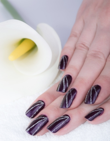 Woman with beautifully manicured purple nails with cala lilyの写真素材