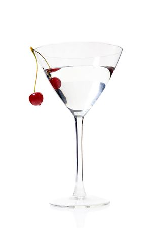 Martini in glass with cherry on it