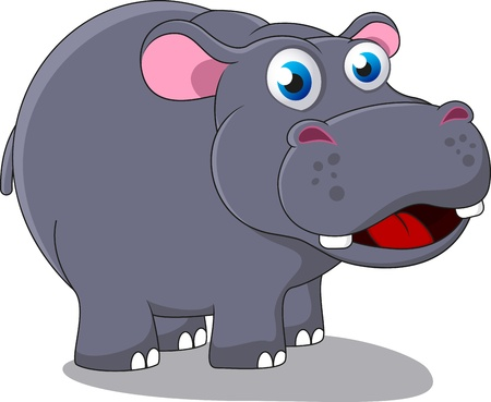 Ilustración de Happy Cute Hippo Vector Illustration - Imagen libre de derechos