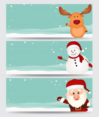 Vector Illustration  Set of christmas banner  with santa ,reindeer and snowman