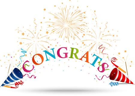 Illustration pour Congratulations celebration with fireworks - image libre de droit