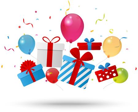 Ilustración de Birthday gift box with confetti - Imagen libre de derechos