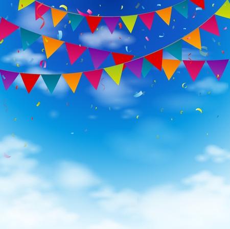 Vektor für Celebration bunting flags on blue sky - Lizenzfreies Bild