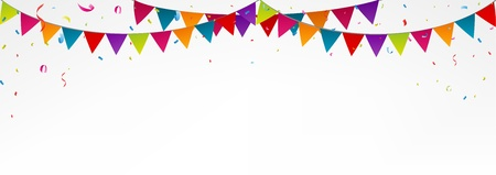 Illustration pour Birthday bunting flags, with confetti - image libre de droit