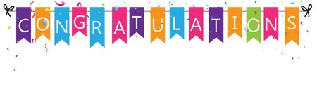 Illustration for Congratulations with bunting flags - Royalty Free Image