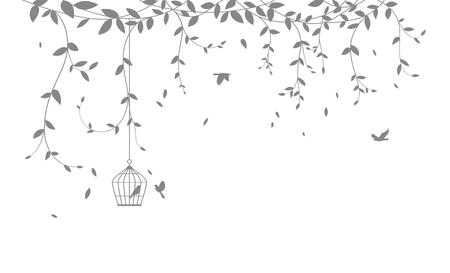 Ilustración de Beautiful tree branch with birds silhouette background for wallpaper sticker - Imagen libre de derechos