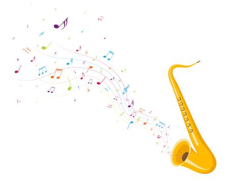 Illustration pour Colorful music notes background with saxophone - image libre de droit
