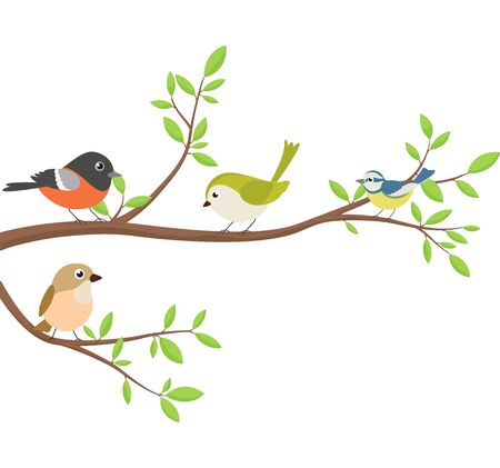 Illustration pour Beautiful birds sitting tree branch - image libre de droit