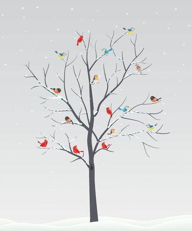 Illustration pour Cute birds with tree branch on winter scene - image libre de droit