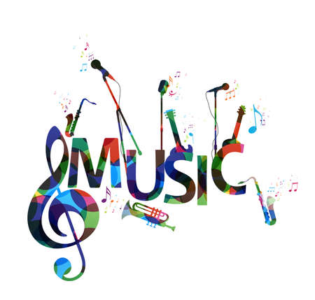 Illustration pour Vector Illustration of Colorful music notes background, abstract sign and symbol - image libre de droit