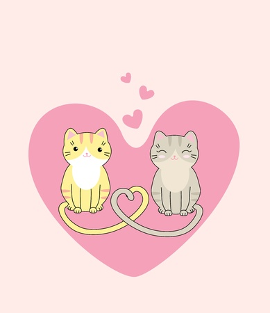 Vector illustration of two cute cats in love