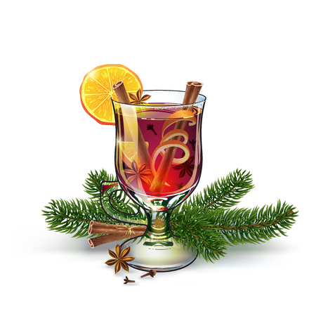 Ilustración de Mulled wine with christmas twigs. Xmas drink. Christmas holiday alcoholic cocktail. Vector EPS10 . Colorful realistic hand drawn illustration. White background. Fabulous atmosphere. - Imagen libre de derechos
