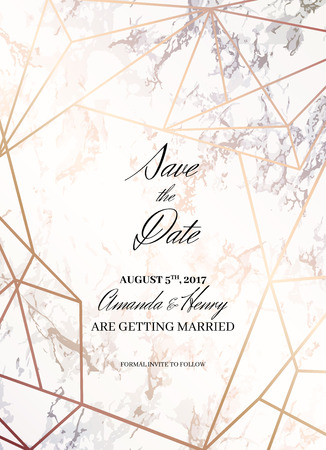 Save the date design template. Invitation to a holiday party. White marble background and rose gold geometric pattern. Dimensions 4,625x6,25 inch, 0.125 bleed size. Seamless pattern included. Eps10.