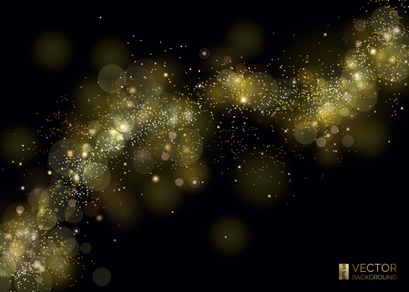 Illustration for Way of gold dust. Wave of sparkling particles. Abstract shiny glitter texture. Shining curve and magic stardust. Luxury background. The milky way from the stars in the universe. The cosmic space. - Royalty Free Image