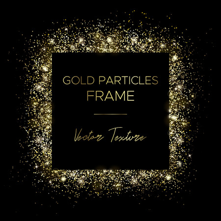 Illustration for Golden square. Frame of gold particles and text in the center. Use for advertising, sale banner, postcard or cover. Box of golden powder and light effects. Luxury glitter sparkling and glowing sparks. - Royalty Free Image