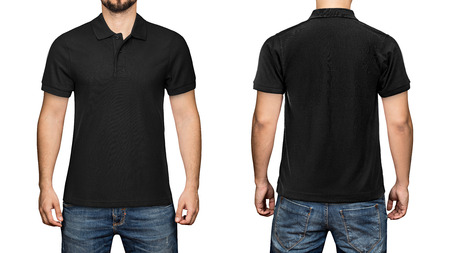 Photo pour men in blank black polo shirt, front and back view, isolated white background. Design polo shirt, template and mockup for print. - image libre de droit