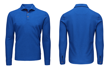 Foto de Blank template mens blue polo shirt long sleeve, front and back view, isolated on white background with clipping path. Design sweatshirt mockup for print. - Imagen libre de derechos