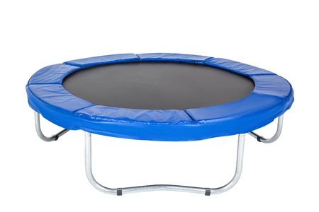 Foto de Trampoline for children and adults for fun indoor or outdoor fitness jumping on white background. Blue trampoline Isolated - Imagen libre de derechos