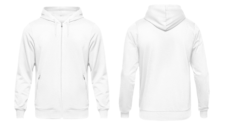 Photo for White male hoodie sweatshirt long sleeve with clipping path, mens hoody with hood for your design mockup for print, isolated on white background. Template sport clothes. - Royalty Free Image