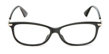 Photo pour Black eyeglasses in rectangular frame transparent for reading or good vision, top view isolated on white background. - image libre de droit