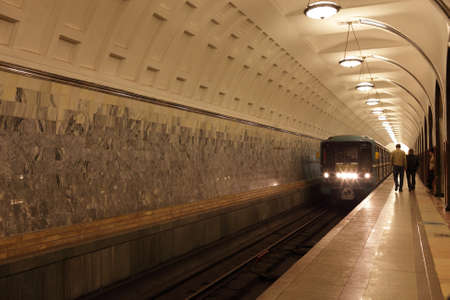 The arriving subway train in Moscow, Russia