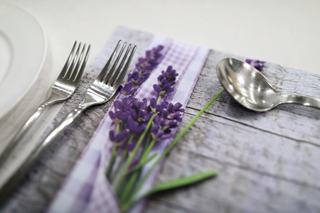 Photo pour Cutlery on the table in the restaurant - image libre de droit