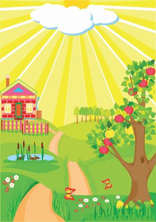 Sunny day illustration. Mellow autumn.