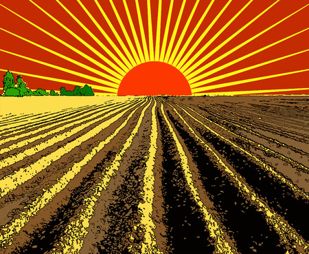 Illustration pour vector illustration flat strip of plowed land stretching to the horizon - image libre de droit