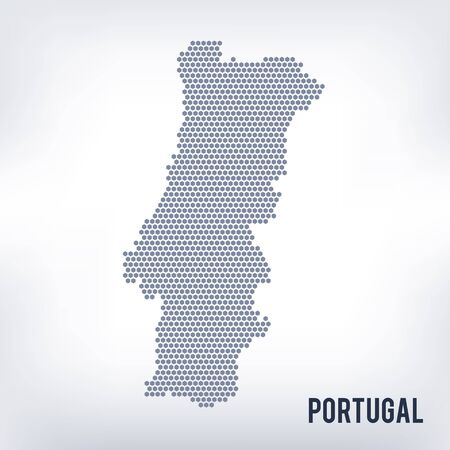 Grey hexagon Portugal Map  Vector geographical map in grey color on
