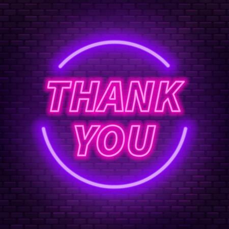 Ilustración de Neon lettering thank you on a dark background. Vector illustration. - Imagen libre de derechos