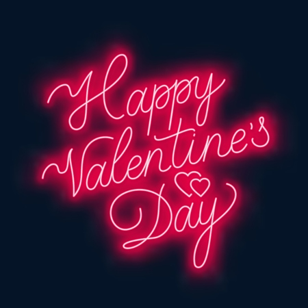Illustration for Happy Valentine s day neon lettering on dark background. Greeting card. Vector illustration. - Royalty Free Image