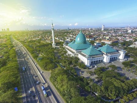 Aerial of Al Akbar mosque islamic center in Surabaya Indonesia