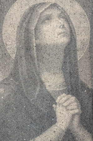 Icon Of Virgin Mary Praying Made Of Small Sand Stones