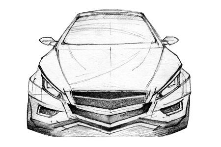Hand Drawn Illustration Of A Modern Car
