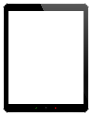 Black Business Tablet With Accept And Reject Buttons Isolated On White