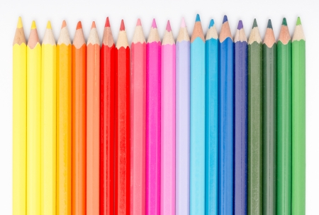 Photo for Close Up Of Coloring Crayons Arranged In Rainbow Line - Royalty Free Image