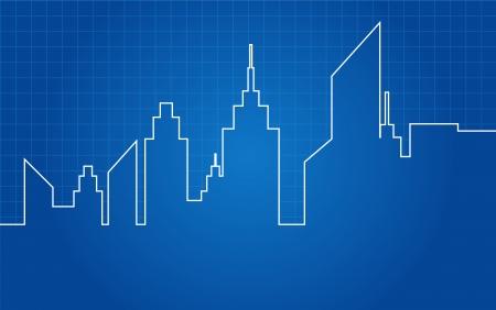 City Skyscrapers Skyline Architectural Blueprint