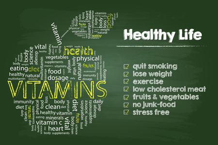 Illustration for Healthy Life Steps Graphic With Vitamins Word Cloud Apple On Green Board - Royalty Free Image