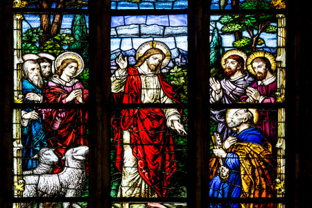 CLUJ NAPOCA, ROMANIA - AUGUST 21, 2014: Jesus Christ Talking To The Apostles Stained Glass Window Inside The Gothic Roman Catholic Church of Saint Michael Built In 1390.