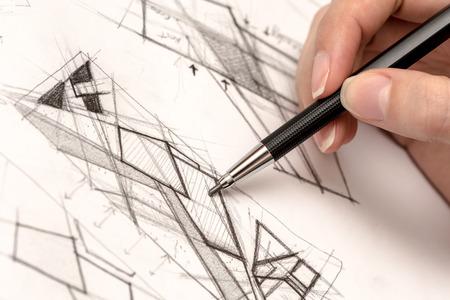 Foto de Girl Hand Drawing Crosshatch On Paper With Crayon - Imagen libre de derechos