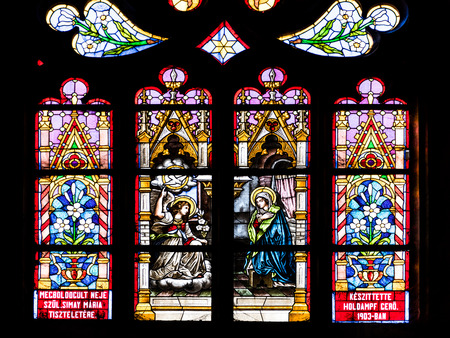 CLUJ NAPOCA, ROMANIA - APRIL 14, 2015: Biblical Scene Stained Glass Window Inside The Gothic Roman Catholic Church of Saint Michael Built In 1390.