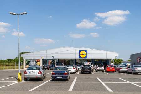 TECUCI, ROMANIA - JULY 24, 2015: Founded in 1930 Lidl Stiftung  Co is a German global discount supermarket chain, based in Germany and belongs to Schwarz Gruppe which also has hypermarket Kaufland.