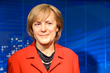VIENNA, AUSTRIA - AUGUST 08, 2015: Angela Merkel Figurine At Madame Tussauds Wax Museum.