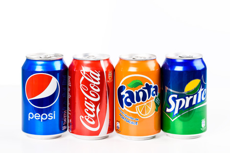 Photo pour BUCHAREST, ROMANIA - JANUARY 16, 2016: Pepsi, Coca Cola, Sprite And Fanta are the most famous carbonated soft drinks sold in stores, restaurants, and vending machines all around the world. - image libre de droit