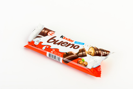 BUCHAREST, ROMANIA - DECEMBER 02, 2015: Kinder Bueno Chocolate is a confectionery product brand line of Italian confectionery multinational Ferrero.