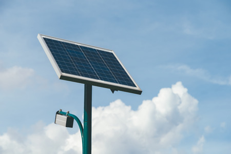 Photo for Modern Public Light Post Powered By Solar Energy - Royalty Free Image