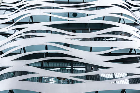 Foto de BARCELONA, SPAIN - JUNE 03, 2019: Architectural Detail of Modern Building Facade on Passeig de Gracia - Imagen libre de derechos